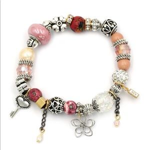 Pink bead flower bracelet